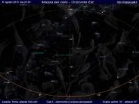 Mappa del cielo del mese di Agosto 2013 - Visuale orizzonte Est, mappa a colori