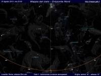 Mappa del cielo del mese di Agosto 2013 - Visuale orizzonte Nord, mappa a colori
