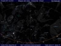 Mappa del cielo del mese di Agosto 2013 - Visuale orizzonte Ovest, mappa a colori