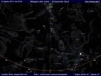 Mappa del cielo del mese di Agosto 2013 - Visuale orizzonte Sud, mappa a colori