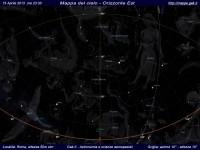 Mappa del cielo del mese di Aprile 2013 - Visuale orizzonte Est, mappa a colori