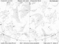 Mappa del cielo del mese di Aprile 2013 - Visuale orizzonte Nord, mappa in bianco e nero (per la stampa)
