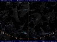 Mappa del cielo del mese di Aprile 2013 - Visuale orizzonte Nord, mappa a colori