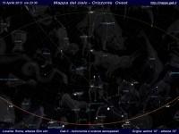 Mappa del cielo del mese di Aprile 2013 - Visuale orizzonte Ovest, mappa a colori
