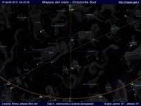 Mappa del cielo del mese di Aprile 2013 - Visuale orizzonte Sud, mappa a colori