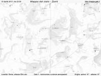 Mappa del cielo del mese di Aprile 2013 - Visuale orizzonte Zenit, mappa in bianco e nero (per la stampa)