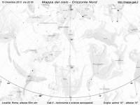 Mappa del cielo del mese di Dicembre 2013 - Visuale orizzonte Nord, mappa in bianco e nero (per la stampa)