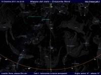 Mappa del cielo del mese di Dicembre 2013 - Visuale orizzonte Nord, mappa a colori