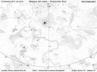 Mappa del cielo del mese di Dicembre 2013 - Visuale orizzonte Sud, mappa in bianco e nero (per la stampa)