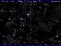 Mappa del cielo del mese di Dicembre 2013 - Visuale orizzonte Sud, mappa a colori