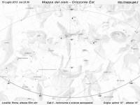 Mappa del cielo del mese di Luglio 2013 - Visuale orizzonte Est, mappa in bianco e nero (per la stampa)