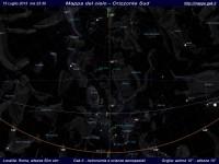 Mappa del cielo del mese di Luglio 2013 - Visuale orizzonte Sud, mappa a colori