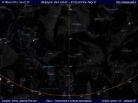 Mappa del cielo del mese di Marzo 2013 - Visuale orizzonte Nord, mappa a colori