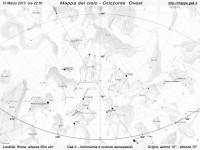 Mappa del cielo del mese di Marzo 2013 - Visuale orizzonte Ovest, mappa in bianco e nero (per la stampa)