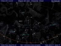 Mappa del cielo del mese di Marzo 2013 - Visuale orizzonte Ovest, mappa a colori