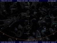 Mappa del cielo del mese di Marzo 2013 - Visuale orizzonte Sud, mappa a colori
