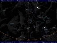 Mappa del cielo del mese di Dicembre 2013 - Visuale orizzonte Est, mappa a colori