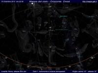 Mappa del cielo del mese di Dicembre 2013 - Visuale orizzonte Ovest, mappa a colori
