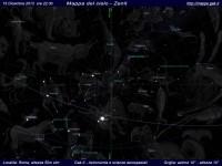 Mappa del cielo del mese di Dicembre 2013 - Visuale orizzonte Zenit, mappa a colori