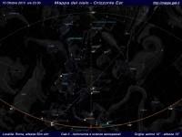 Mappa del cielo del mese di Ottobre 2013 - Visuale orizzonte Est, mappa a colori