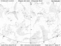 Mappa del cielo del mese di Ottobre 2013 - Visuale orizzonte Nord, mappa in bianco e nero (per la stampa)